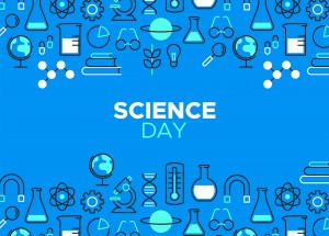 World Science Day illustration. Outline icons in blue color for scientific research celebration. Includes microscope, chemistry flask and education tools.