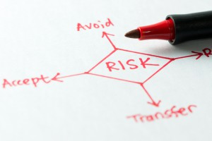 Risk management flow chart with a red pen